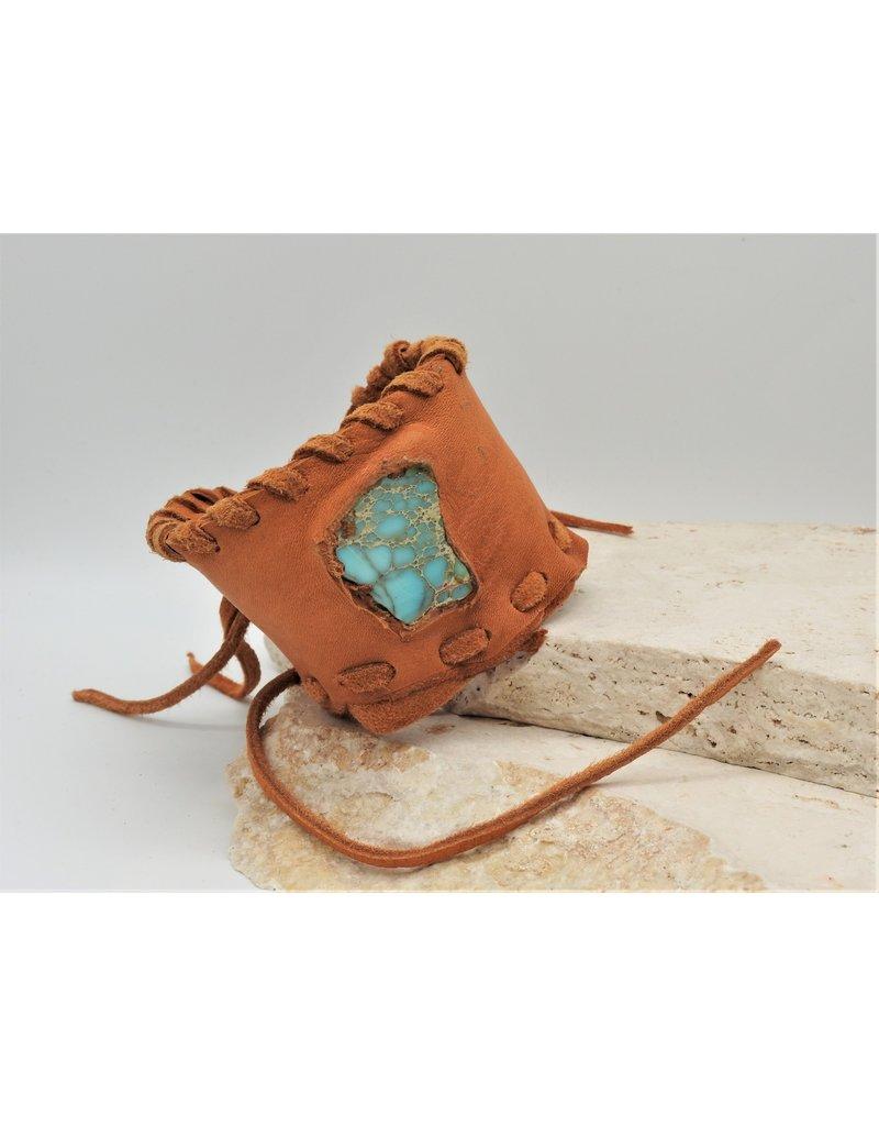 A. Tsagas Tan Deerskin w/Turquoise cuff