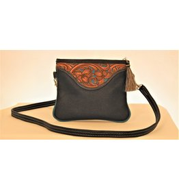 Boedeker Leather Black w/Turq. Filigree Hand Tooled Wristlet Purse