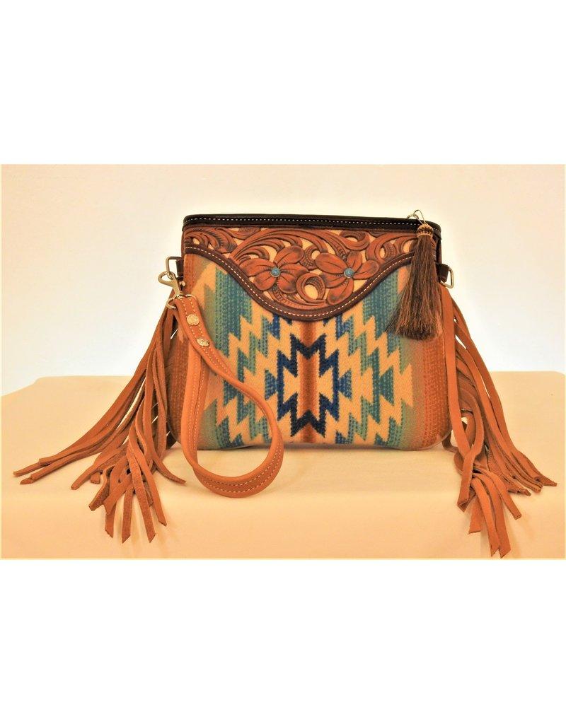 Boedeker Leather Blue/Cream Wool Wristlet, Shldr Strap