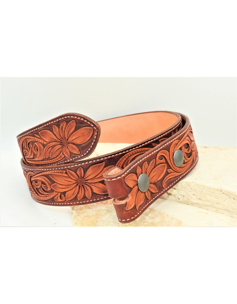 Boedeker Leather Full Floral Belt Light
