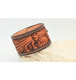 Boedeker Leather Floral Cuff 2 snap dark brown  sz. 8-9