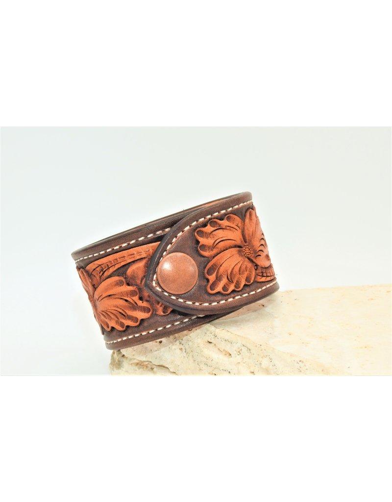 Boedeker Leather Floral Cuff 2 snap dark brown  sz. 8-9