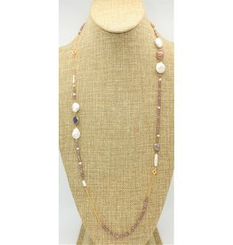 Bijouterie Crystal and Mother of Pearl Long Necklace
