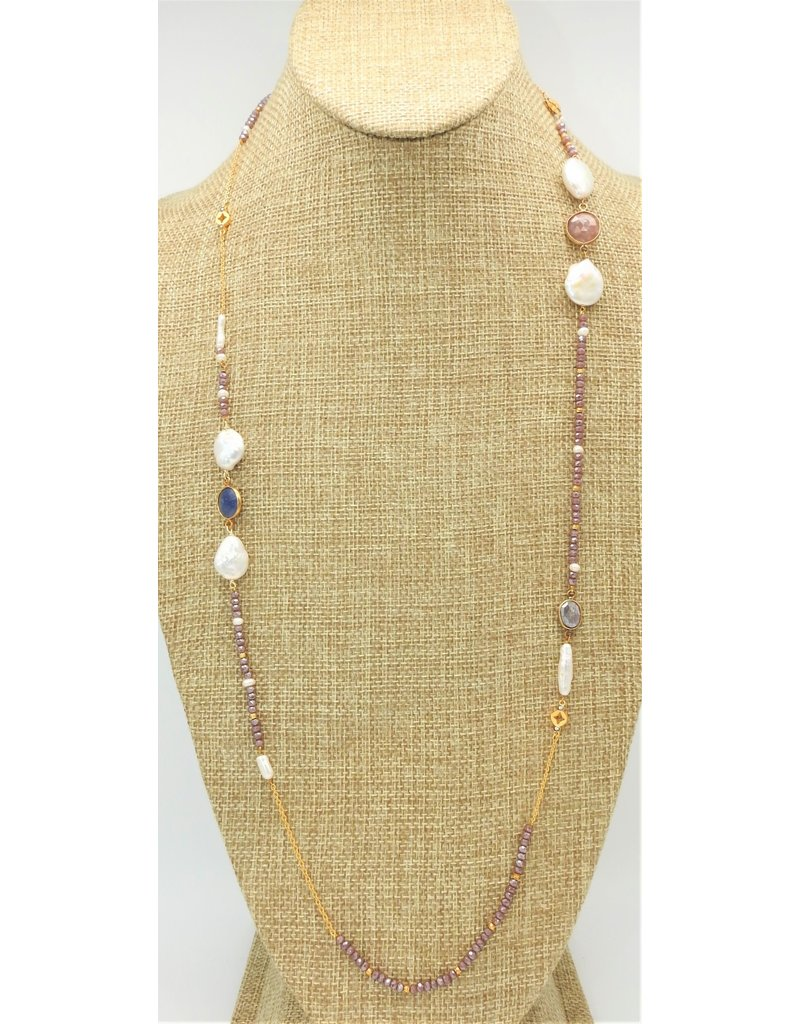 Bijouterie Crystal and Mother of Pearl Long Necklace/D