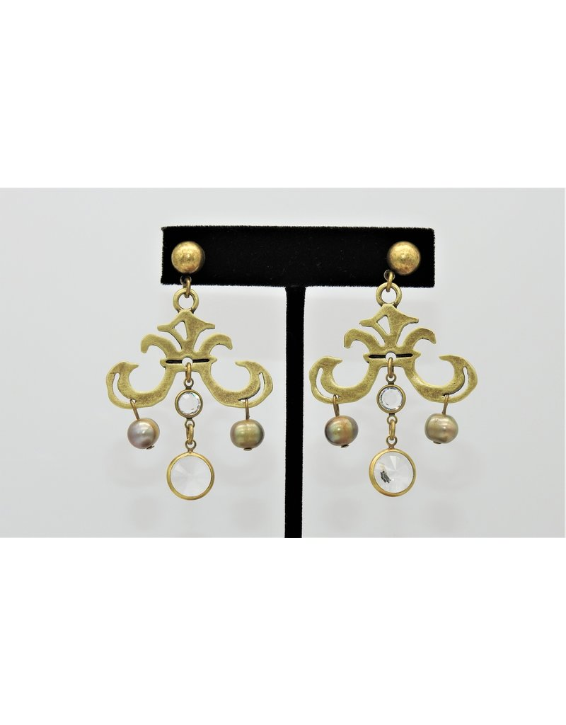 French Kande Brass Stud w/Grand Fleur, Swrski Rivoli & Prl Dangles