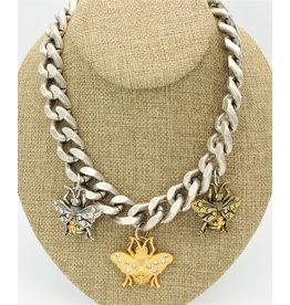 """French Kande 18"""" Silver Bevel Chain, Trpl Lg FK Bee Pend, Mixd Cabs"""