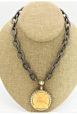 """French Kande 17.5"""" Rhodium Lourdes Chain, 14k Pltd Cuvee Medln"""