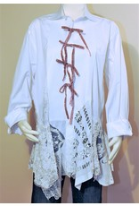 Char Designs, Inc. EJ One of a Kind Tux Shirt, Pink Ribbons & Vintage Lace