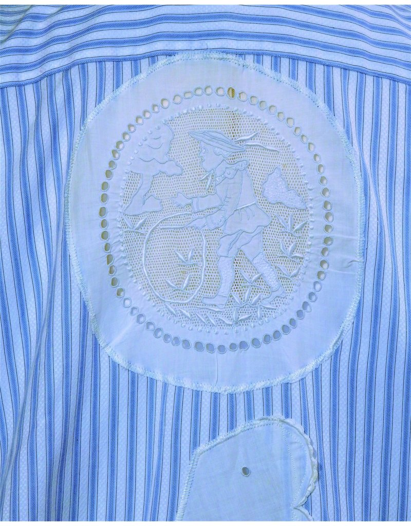 Char Designs, Inc. EJ One of a Kind, Blue Stripe with Vintage Lace