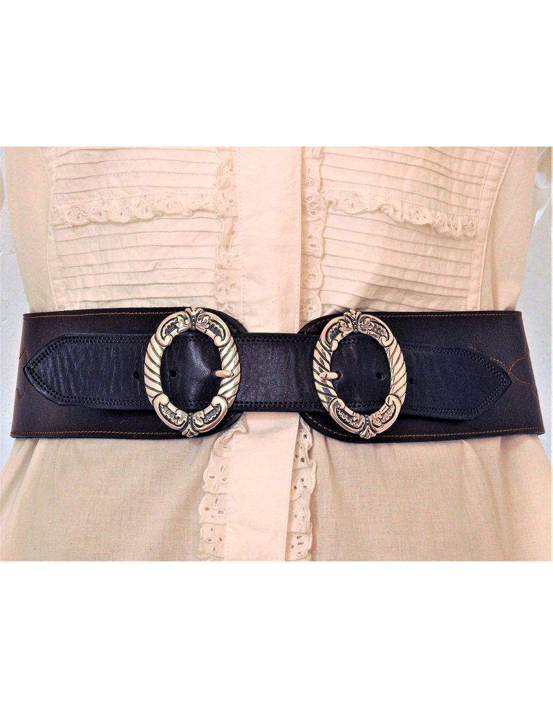 Mariano Draghi MD-C 2 Ring Buckle, Brown Leather Stitched Belt