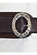 Mariano Draghi SS 2 Ring Buckle, Brown Leather Stitched Belt