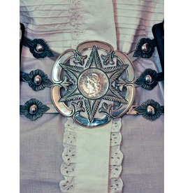 Mariano Draghi Federal Star Flower, Black Leather Belt