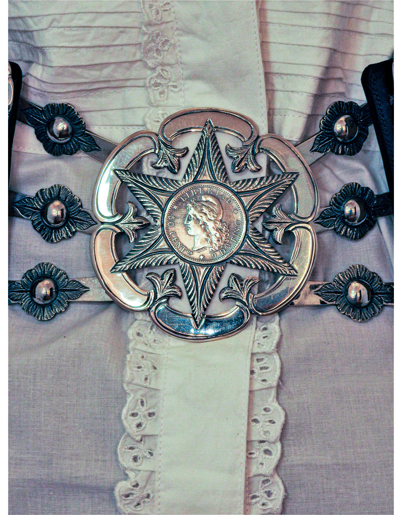 Mariano Draghi Federal Star Flower, Black Leather Belt