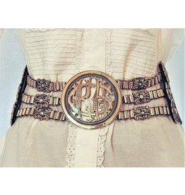 Mariano Draghi MD - Monogram Buckle,  Brown Leather Belt