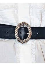 Mariano Draghi MD-C One Ring Buckle, Black Leather Belt