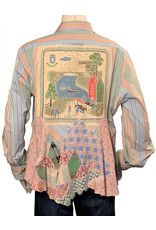 Char Designs, Inc. EJ One of a Kind Stripe Shirt w/ Patchwork & Fishing Scene