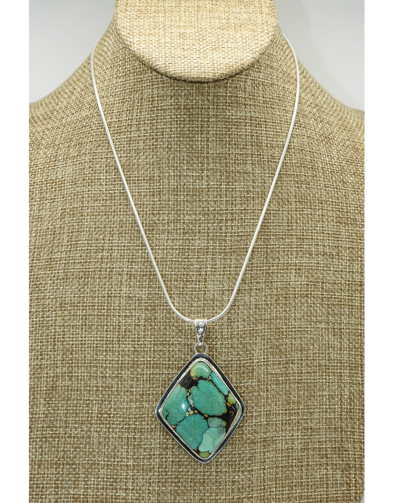 Pam Springall Multi Natural Turquoise Penadant w/SS Chain