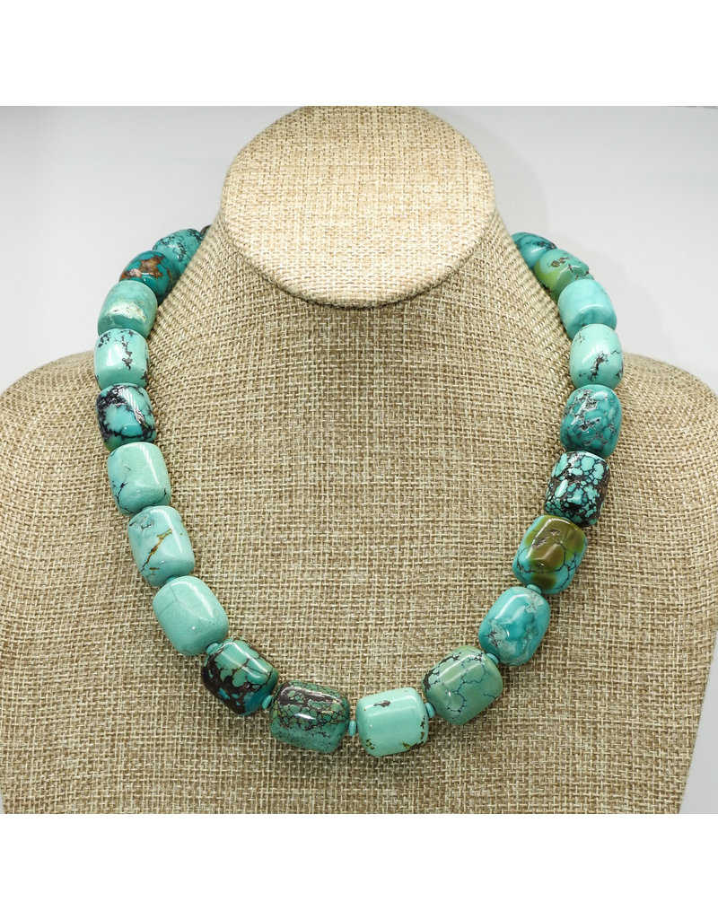 Pam Springall Large Turquoise Barrels Necklace