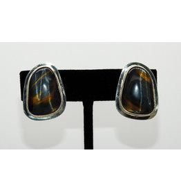 Pam Springall Black Tigereye Clip earrings