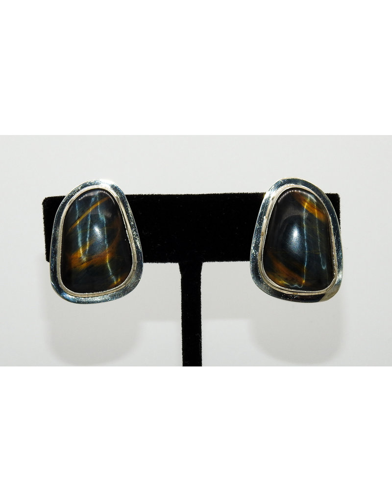Pam Springall Black Tigereye Clip earrings