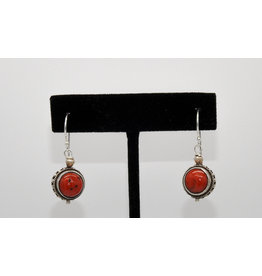 Pam Springall Round Coral on wire earrings