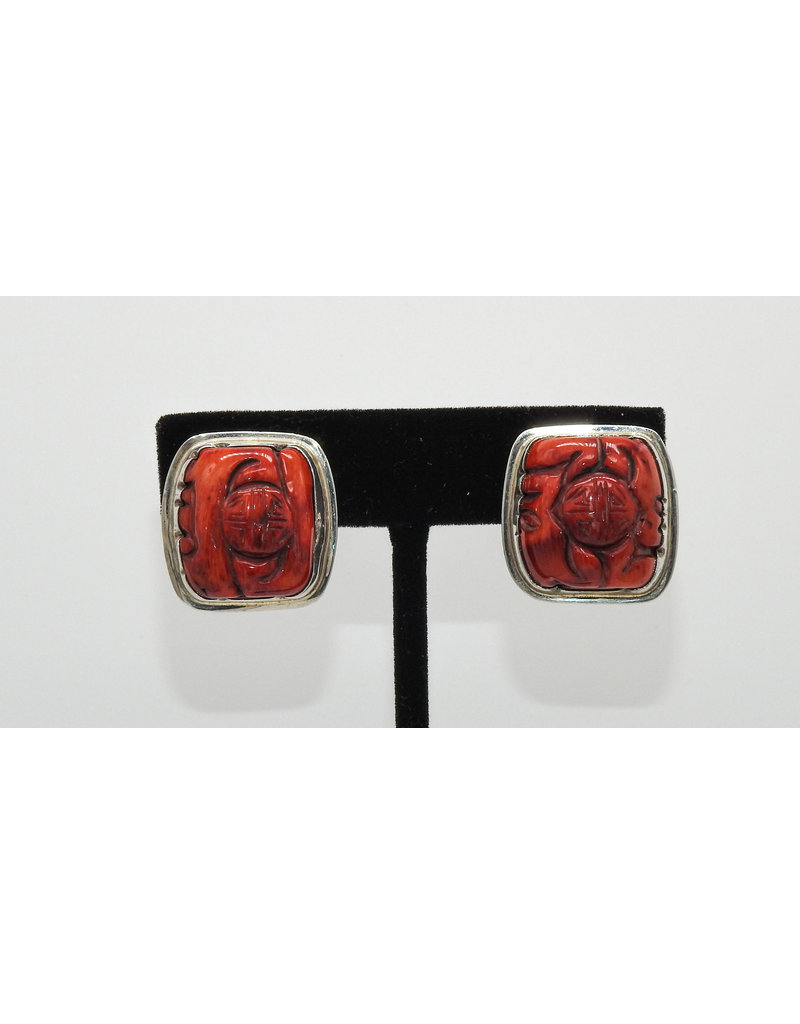 Pam Springall Red Dyed Bamboo Coral Clip earrings