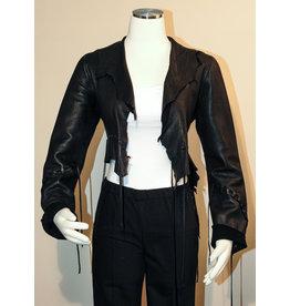 A. Tsagas Black Deerskin Leather Short Jacket