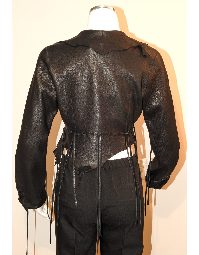 A. Tsagas Black Deerskin Leather Short Jacket