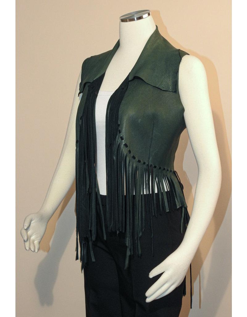 A. Tsagas Green Deerskin Leather Fringe Vest