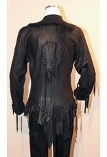 A. Tsagas Black Ladies Deerskin Lthr Jkt w/Horn Buttons
