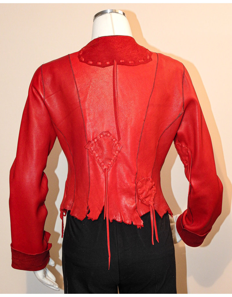 "A. Tsagas ""Kiki"" Red Deerskin Leather Jacket"