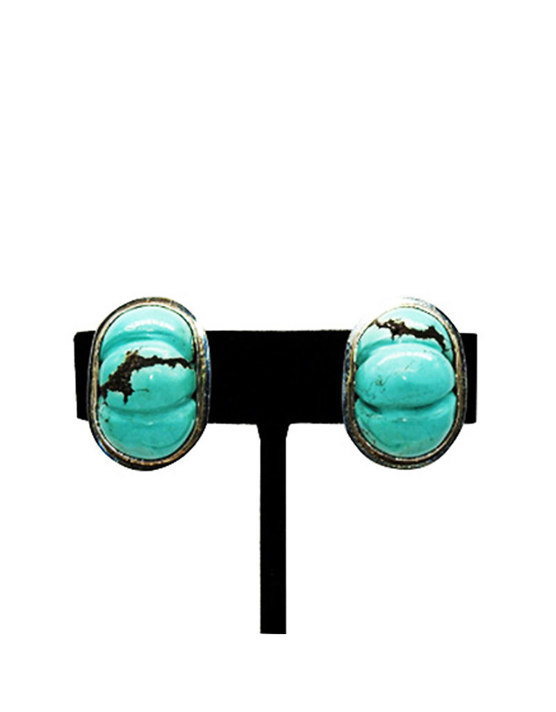 Pam Springall Turquoise Melon Clip earrings