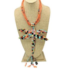 Jolene Bird Coral Necklace w/ Lg.Dragonfly Multi Stone Inlay