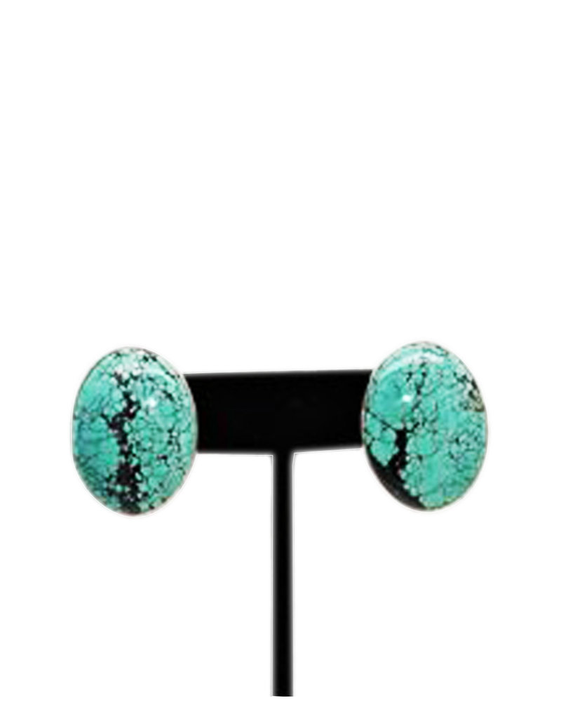 Pam Springall Lg Oval Turquoise Post Earrings