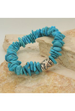Pam Springall Bright Blue Turquoise Nuggets Stretch Bracelet