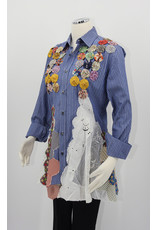 Char Designs, Inc. EJ-Blue Pinstrip, Antique Lace Patchwork