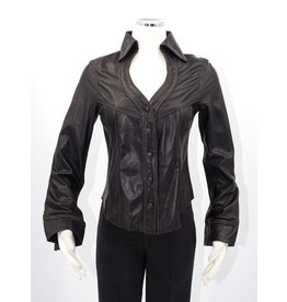 Alan Michael USA Corp Heartneck black lambskin shirt - S