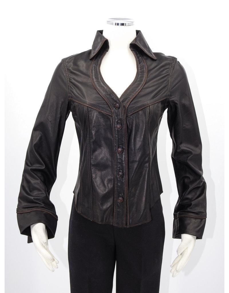 Alan Michael USA Corp Heartneck black lambskin shirt - L