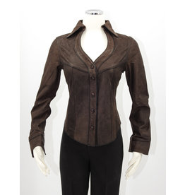 Alan Michael USA Corp Heartneck brown lambskin shirt - L