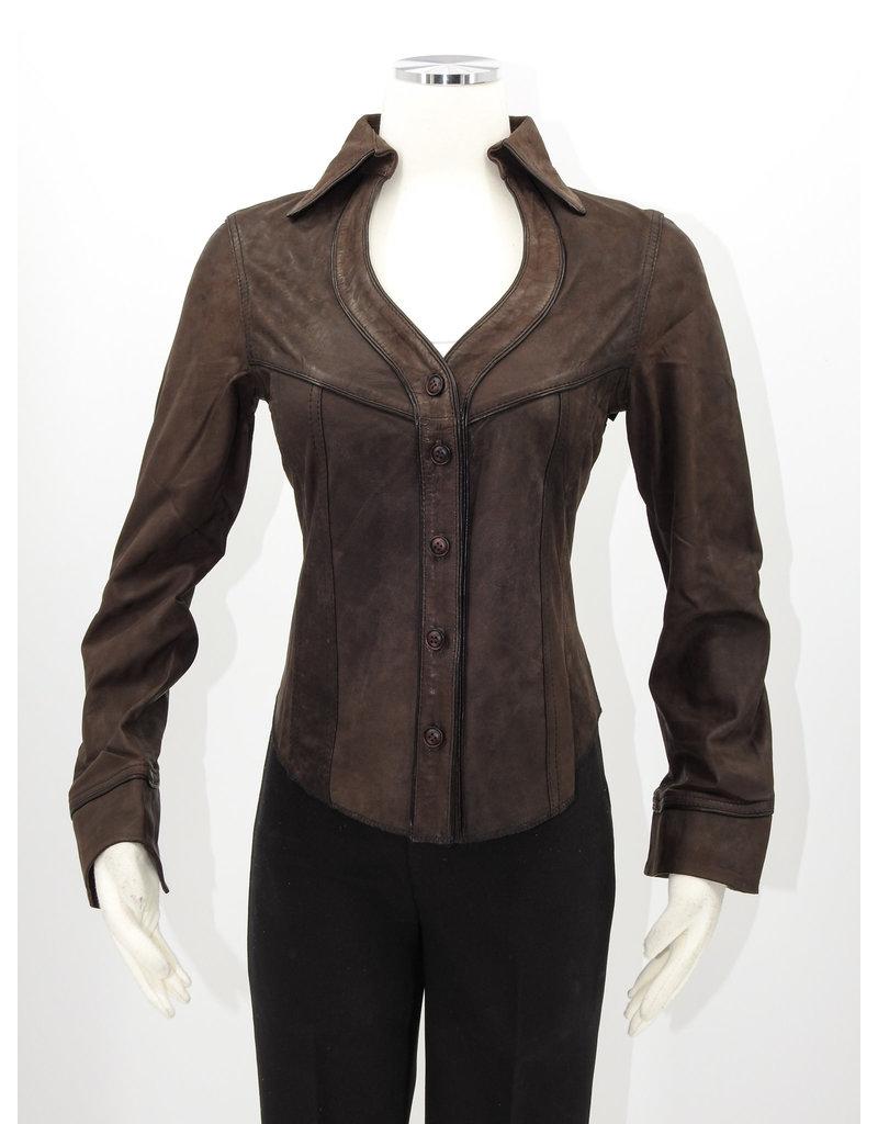 Alan Michael USA Corp Heartneck brown lambskin shirt - L
