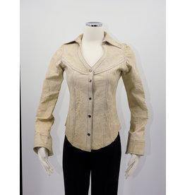 Alan Michael USA Corp Heartneck white crinkle shirt - XS