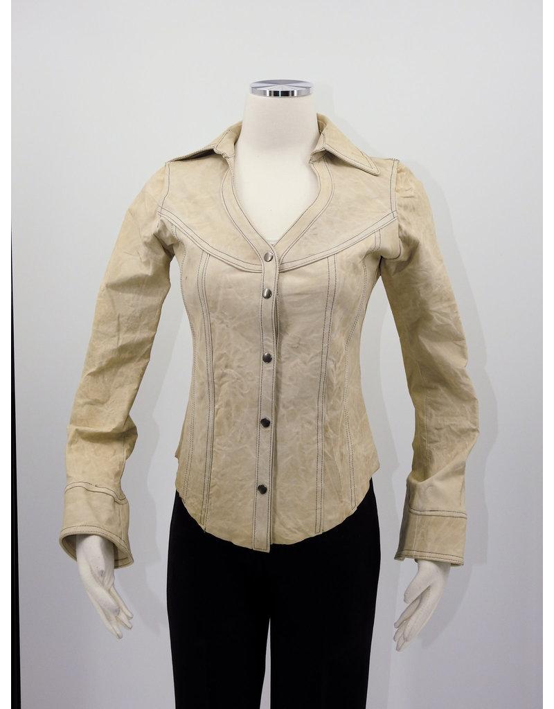 Alan Michael USA Corp Heartneck white crinkle shirt - S