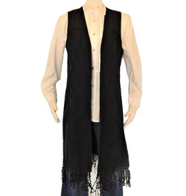 Peruvian Perfection Cotton Emroidered Long Fringe Vest