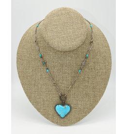 Gildas Gewels Turquoise Heart, Diam. Clasp on Vintage Chain