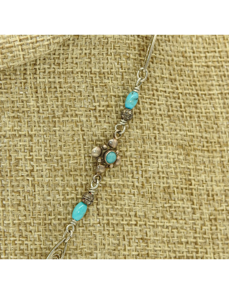 Gildas Gewels Turquoise Heart, Diam. Clasp on Vintage Chain