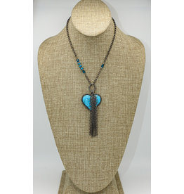 Gildas Gewels Lg Turq. Heart, Diam Clasp on Vntg. Chain