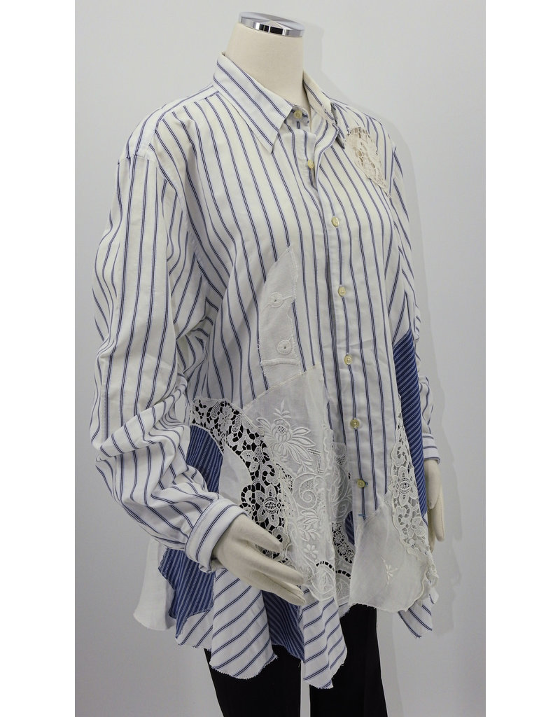 Char Designs, Inc. EJ Wht. Pinstripe, Hand Emroidered Lace