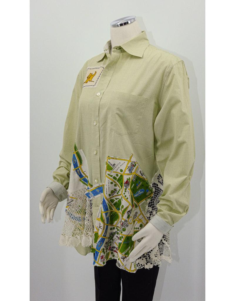 Char Designs, Inc. EJ Lime w/London print fabric, Antq Lace, HE