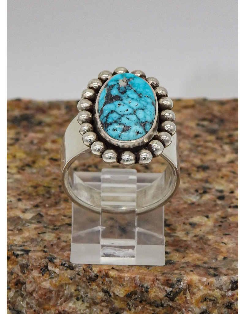 Ray Van Cleve SS w/ Turquoise & Dotted Bezel Ring sz 7.5