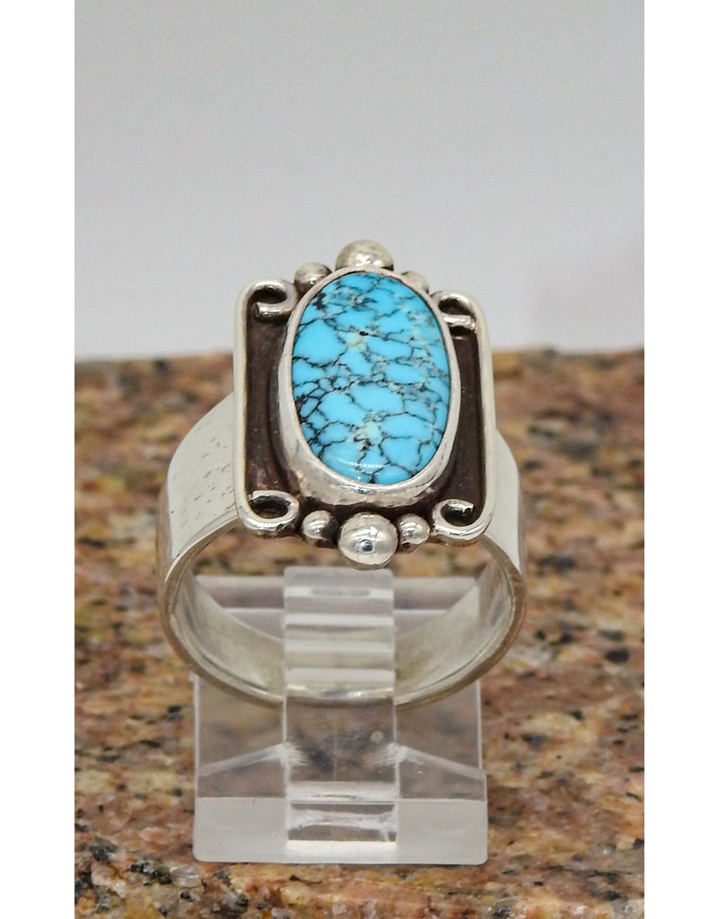 Ray Van Cleve SS w/Turquoise/Wire Bezel sz 7.5